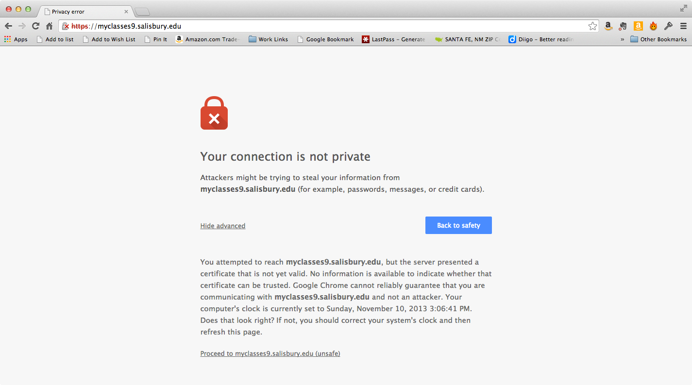 Security Certificate Is Not Trusted Error In Google Chrome