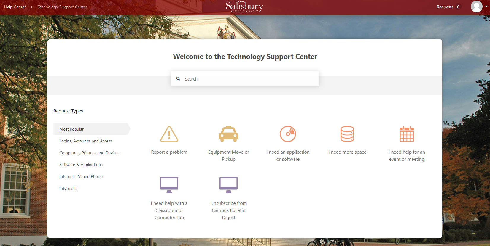 Support Center Home Page