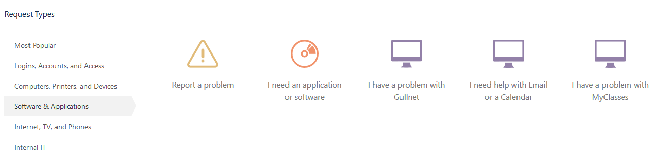 software and applications options